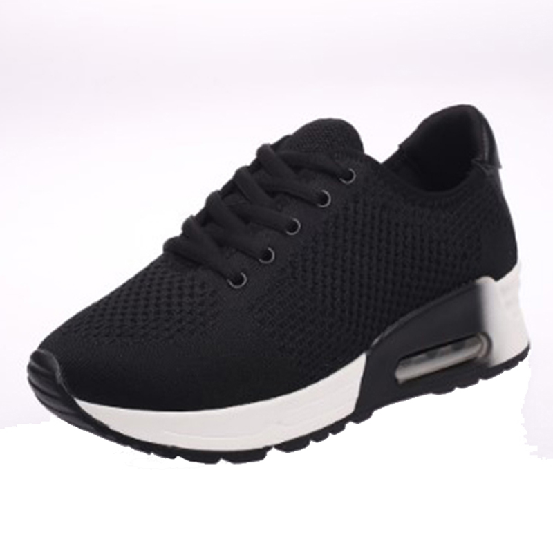 ФОТО 2017 New Women Shoes Black Air Cushion Sports Shoes Thick Bottom Running Shoes Female Breathable Outdoor Trainer Shoes 1010