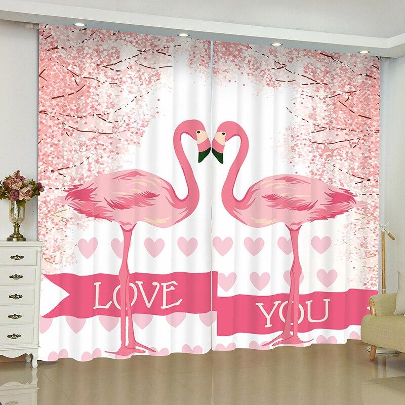 Image 2 - Flamingo curtains for window Rainforest Flamingo blinds finished drapes window blackout curtains parlour room blinds curtain-in Curtains from Home & Garden