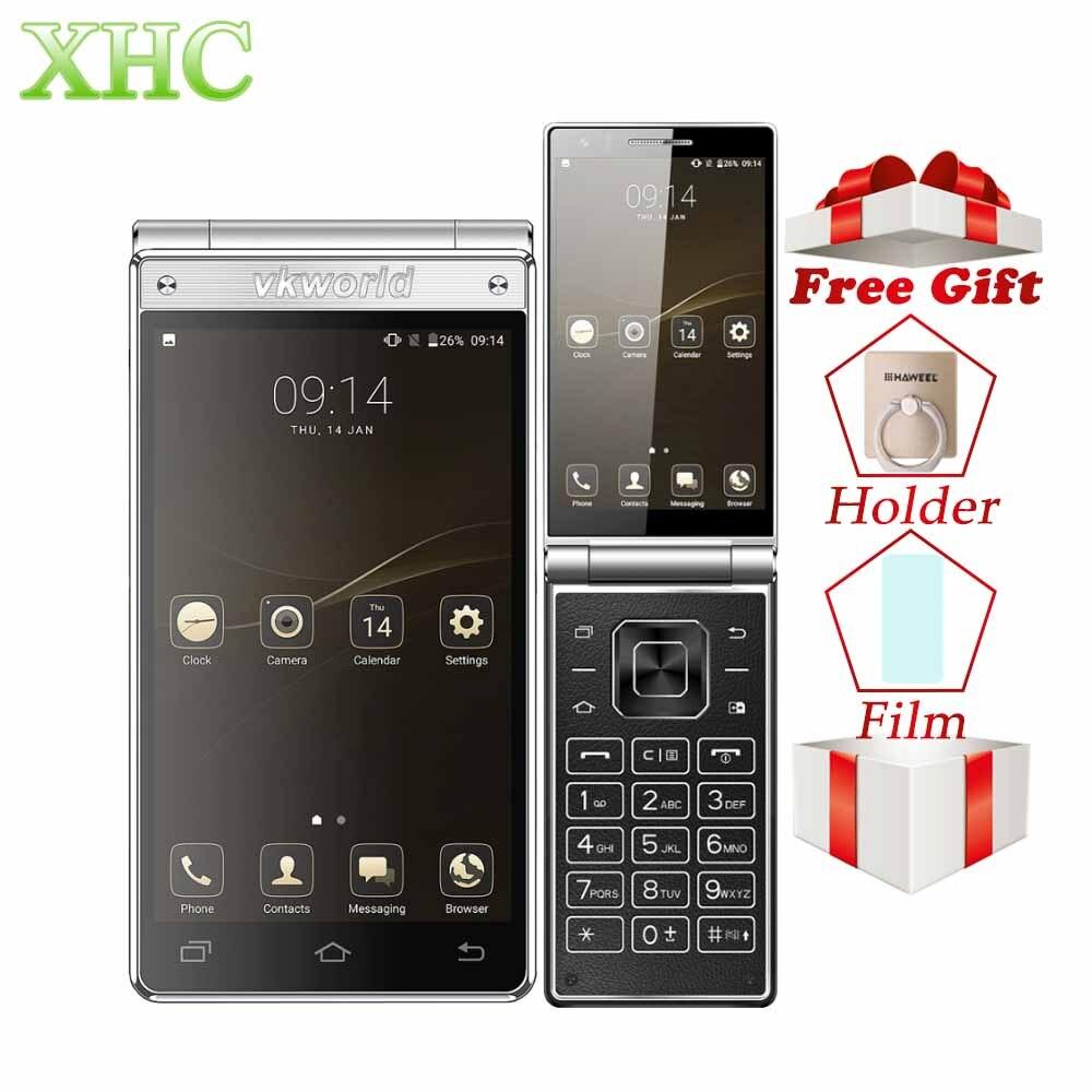 Vkworld T2 Plus Flip 4g Smartphone RAM 3 gb ROM 32 gb MT6737 Quad Core 4.2 pouce Double Écran android 7.0 Dual SIM GPS Mobile Téléphones