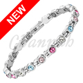 Channah 2017 Women Silver Magnetic Stainless Steel Bracelet Shining Color 19pcs Brand Crystal Bangle Ladies Free Shipping Charm