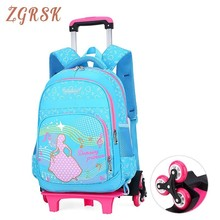 Kids Trolley Schoolbag Luggage Book Bags Boys Girls Kindergarten Backpack Latest Removable Children Bag School 2/6 Wheels