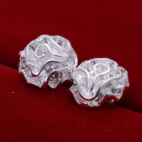 Wholesale silver plated Earring,silver plated Fashion Jewelry,Cute Rose Earrings SMTE003