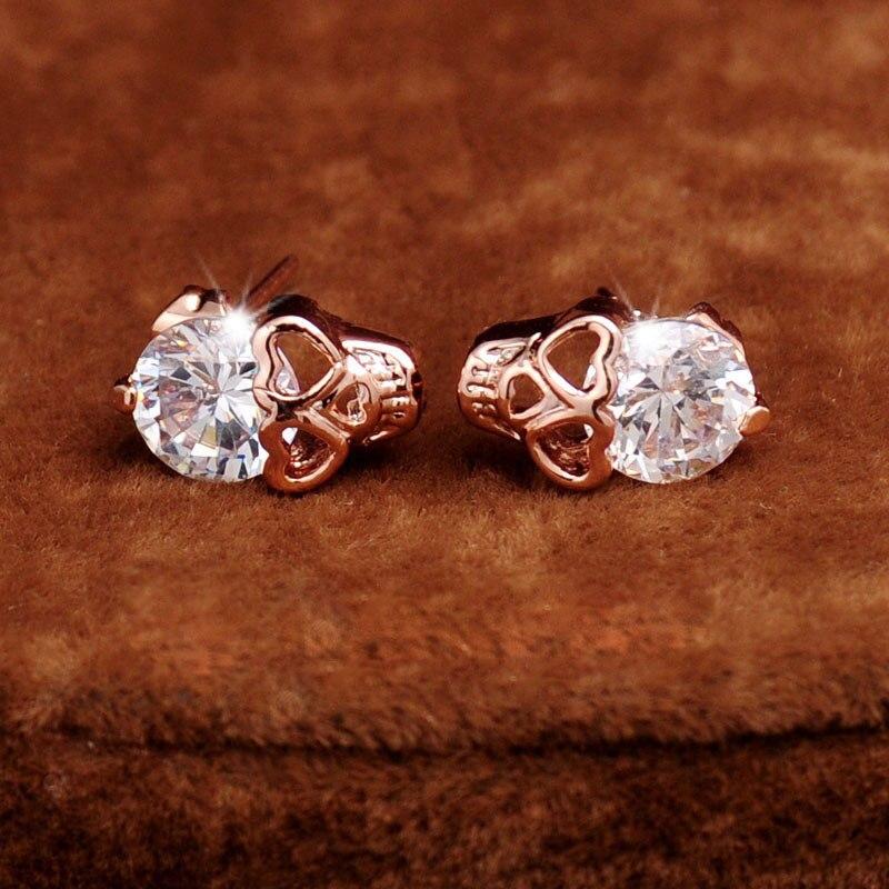 Shining CZ Crystal Stud  Skull Earrings for Women Trendy  1