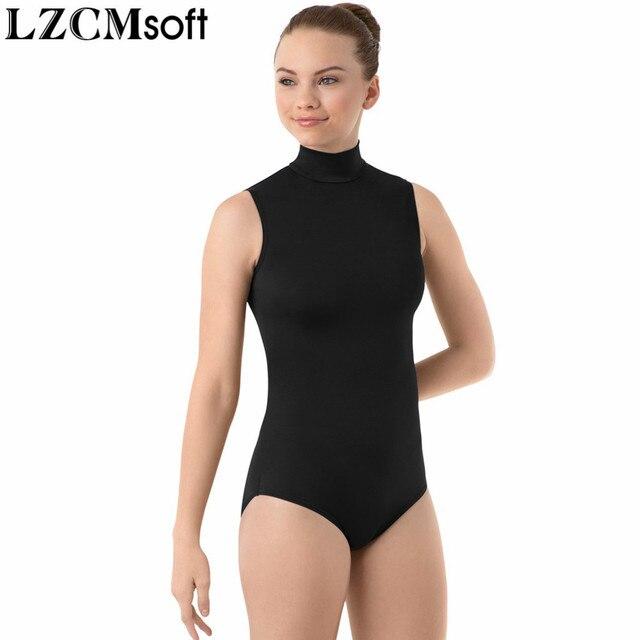 LZCMsoft 여성 스판덱스 블랙 민소매 댄스 레오타드 성인 나일론 하이 넥 체조 성능 레오타드 스테이지 바디 수트
