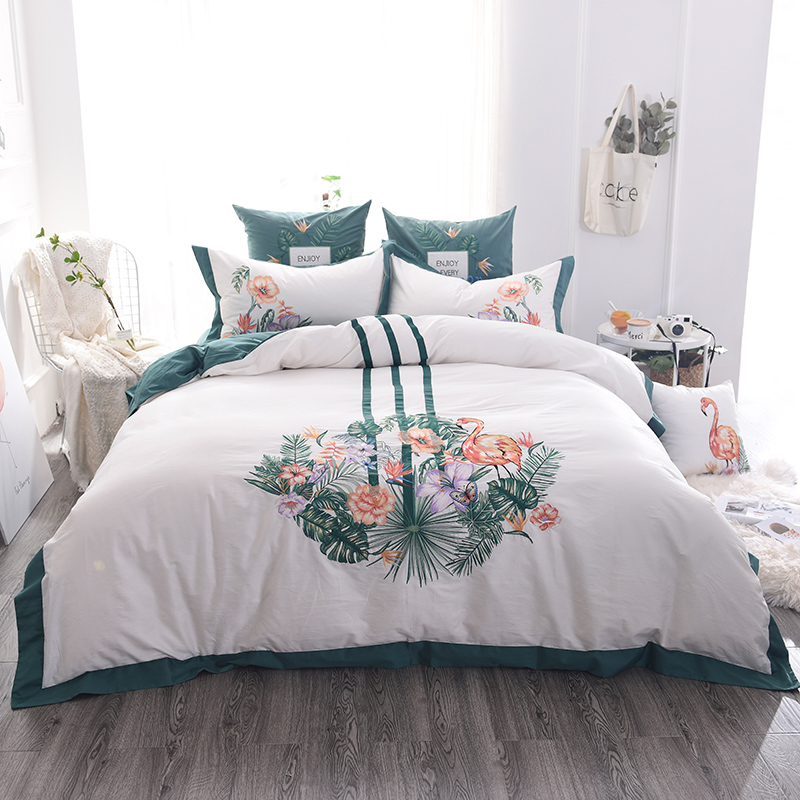2018 Luxury Egypt Cotton Tropic Affair Bedding Set Embroidery Ribbon