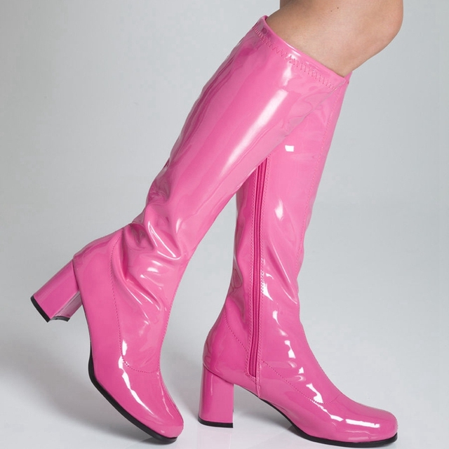 4db7fba463b Shiny Patent Leather Calf High Women Boots Hoof Heels Round Toe Cosplay  Shoes Med Heels Chaussure Femme Boots Plus Size