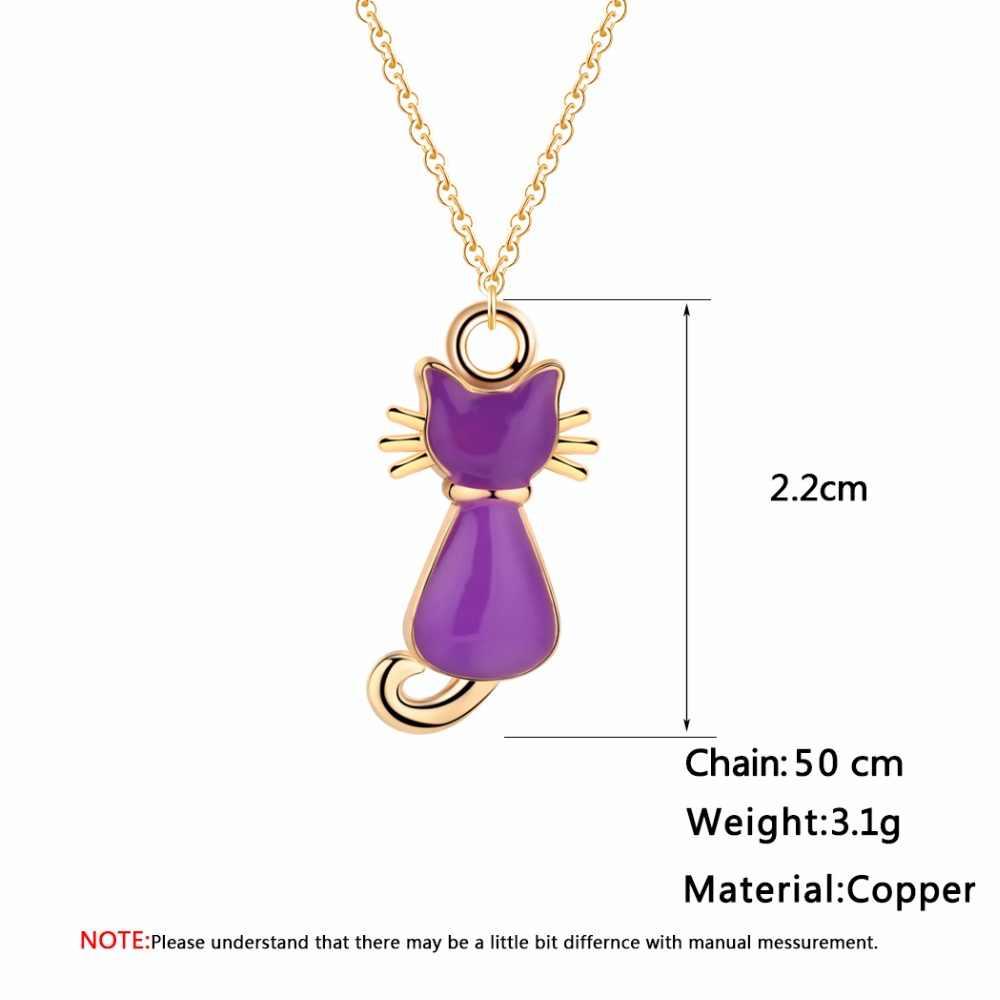 Cxwind colar para crianças esmalte dos desenhos animados gato pinguim jóias acessórios feminino animal colar pingente concha festa