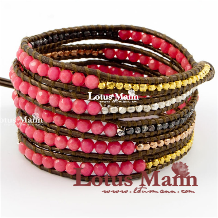 Lotus mann clinched powder red coral multi color silver beads mixed 5 wraps gold brown leather bracelet usa series red white and blue red coral white lazing 5 wraps leather cord bracelet