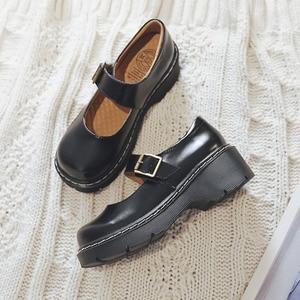 Image 2 - 2019 ใหม่มาถึงสไตล์ญี่ปุ่น Vintage Mary Janes รองเท้าสตรีตื้นปากรองเท้าลำลองนักเรียนรองเท้าหนังหนาด้านล่าง