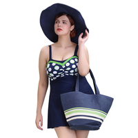 2016 New Arrival Leaf Printed Swimwear Two Piece Swimsuit For Women Summer Dress Plus Size Bodysuit