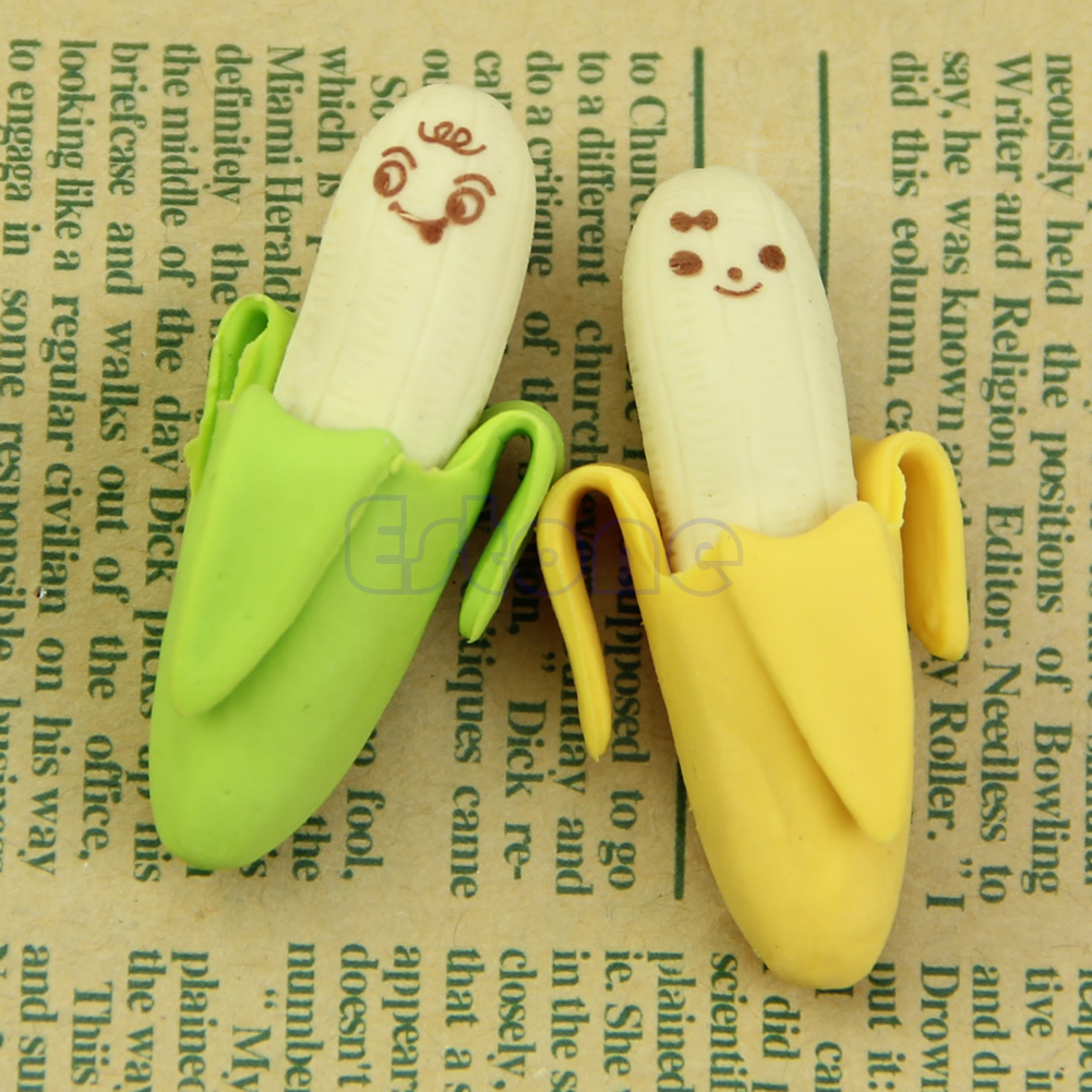 2pcs Novelty Fruit Banana Style Rubber Pencil Eraser Office Stationery Gift Toy