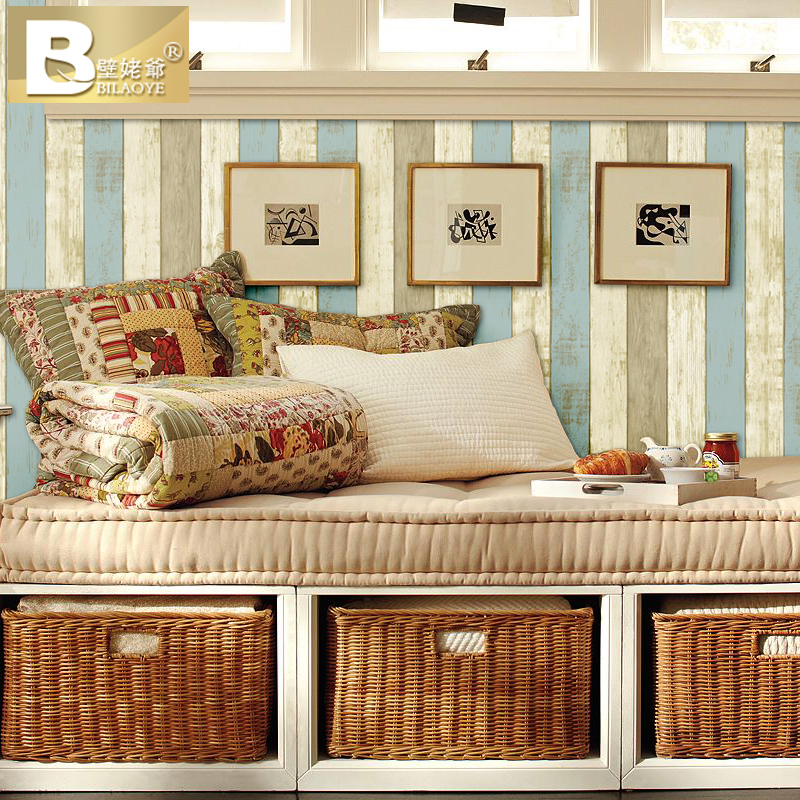ФОТО 2016 new selling high-end color wood grain non-woven wallpaper Sitting room TV wall restoring ancient ways Mediterranean style