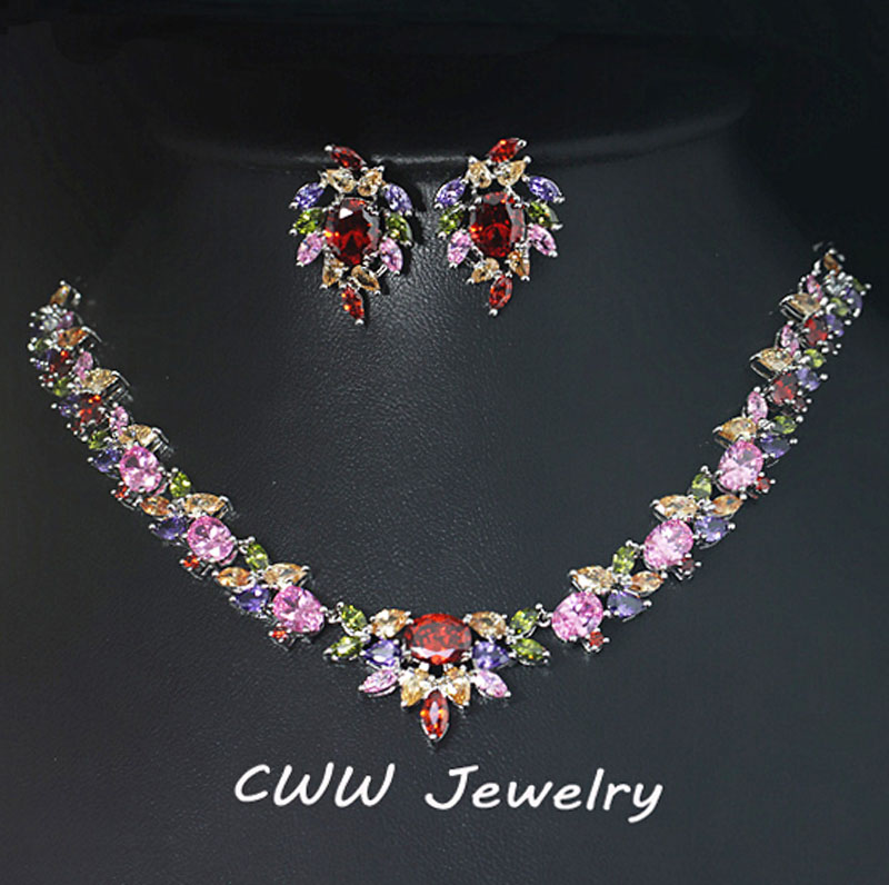 CWWZircons Classic My Mona Lisa Design Gold Color Marquise Shape Multicolored Big Cubic Zirconia Jewelry Sets For Women T197 my passion for design