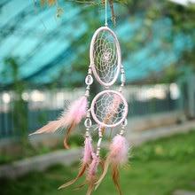 купить India Style Car Handmade Pink Dream Catcher Net With feathers Hanging Decoration Decor Ornament Gift Shell дешево
