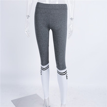 New two Bars Sporting Legging Gray White Patchwork Fitness Leggings Elastic Skinny Women Pant