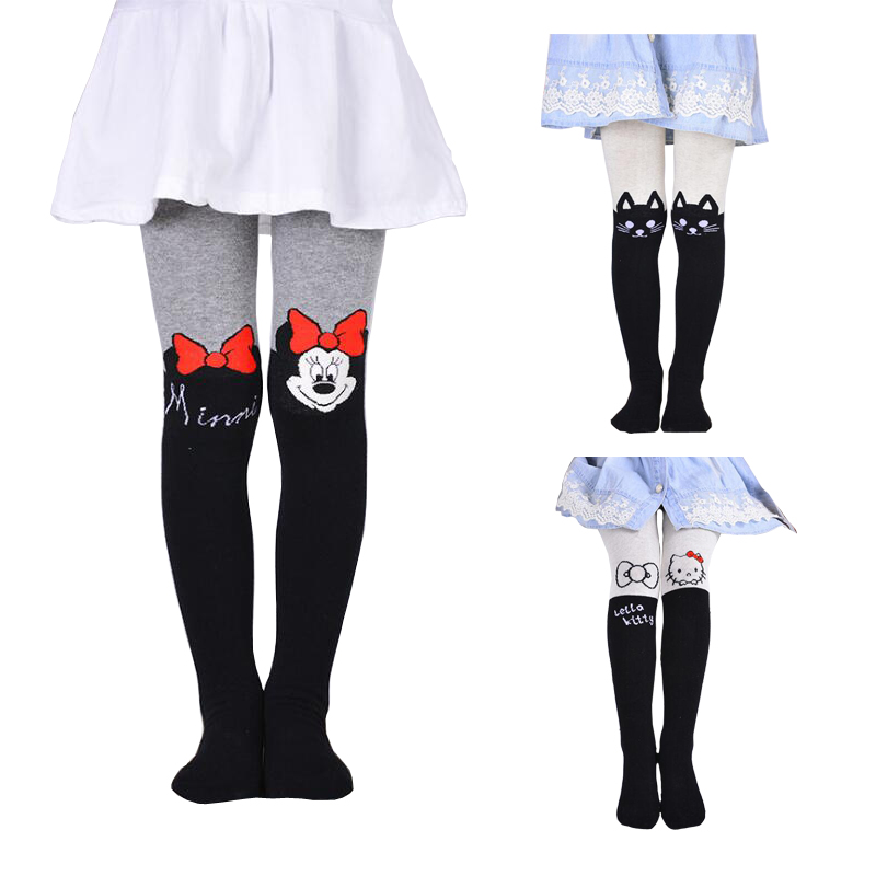 VEENIBEAR 2019 New Cotton Girl Tights Embroidery Cartoon Kids Children Pantyhose Baby Stockings Spring Tights For Girls  3-10 T