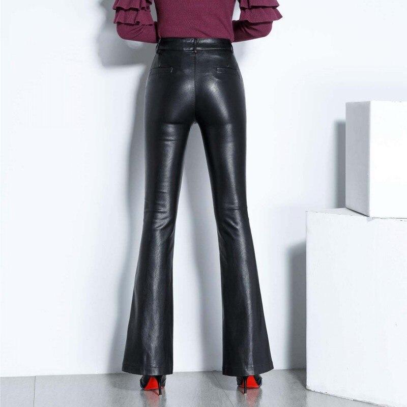 Zipper Flare 2019 Slim Haute Taille Cuir Automne Mode Plein Femmes Pantalon Véritable Black Dames Bureau Coréenne 6cOwqIaHvx