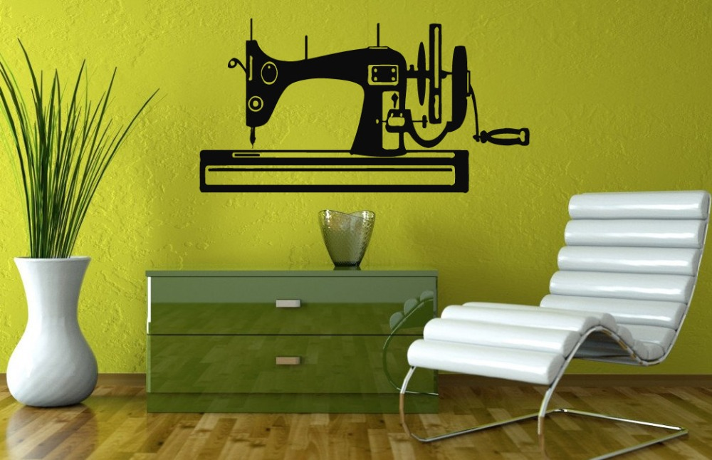 Sewing Machine Silhouette Creative Designed Wall Stickers Home Bedroom Art Modern Decorative Vinyl Wall Mural Decals WM-080