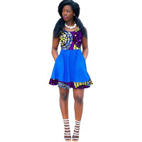 Women Fashion African Print Dresses Custom Dashiki Print Clothes African Women Clothing Print And Blue Cotton Dress Costume