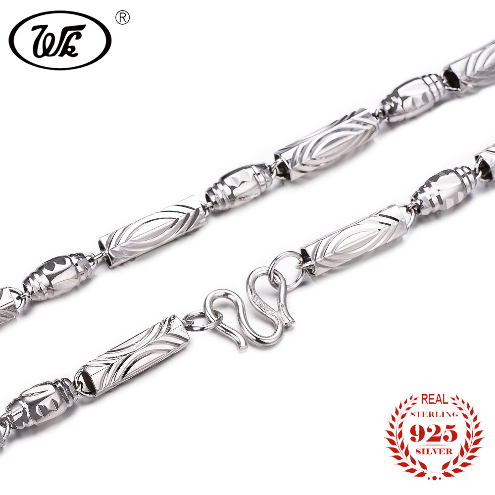 Wk Pure 925 Sterling Silver Men Chain Necklace 18 20 22