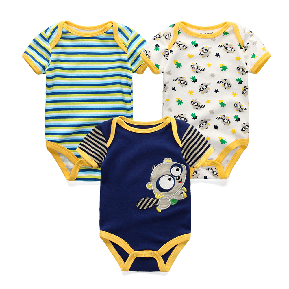 3PCS Newborn Baby Rompers Uni Infant Clothes Cotton