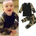2 unids Toddler Clothes Set Niños Bebés Niños de Camuflaje de Manga Larga Tapas de la camisa + Pantalones Largos de Algodón Traje Ropa de Camuflaje Traje 21