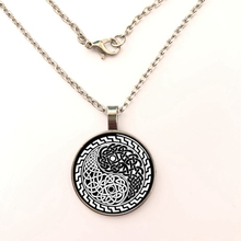 YSDLJG Yin Yang Knot Style Glass Dome Necklace Pendant Necklace Silver Plated Pendants Birthday Gift for Women Men glowing yin yang necklace phoenix glass dome pendant tree of life silver plated chain necklace glow in the dark yin yang jewelry
