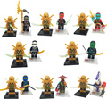 16pcs/lot Mini Golden Ninja Go Figures Cole Jay Kai Lloyd Nya Zane Lepine Building Blocks Toy Compatible legoINGlys figures