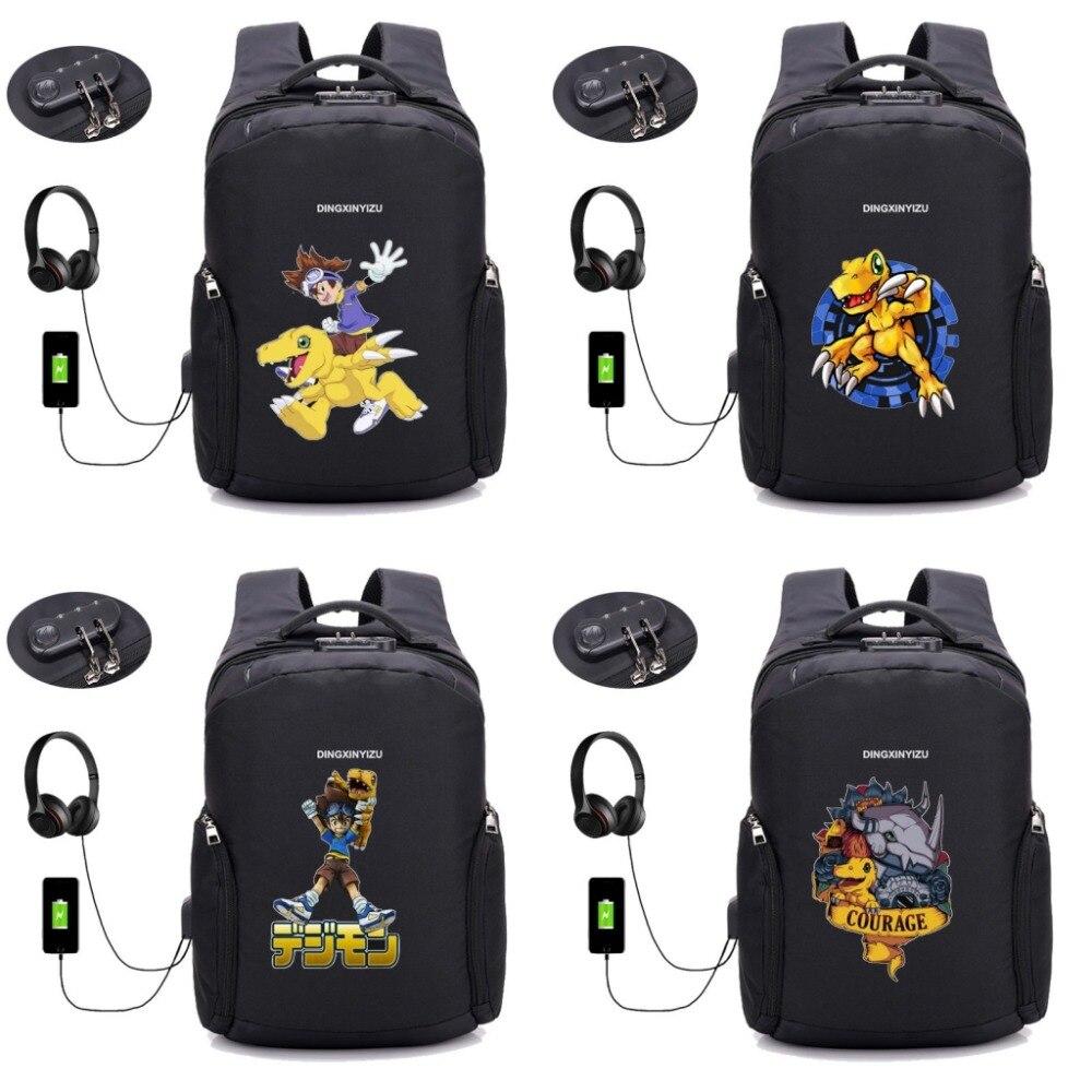 Anime jeu numérique monstre sac à dos USB chargement sacs à dos d'ordinateur portable adolescent mâle Mochila voyage sac à dos école livre sac 14 style