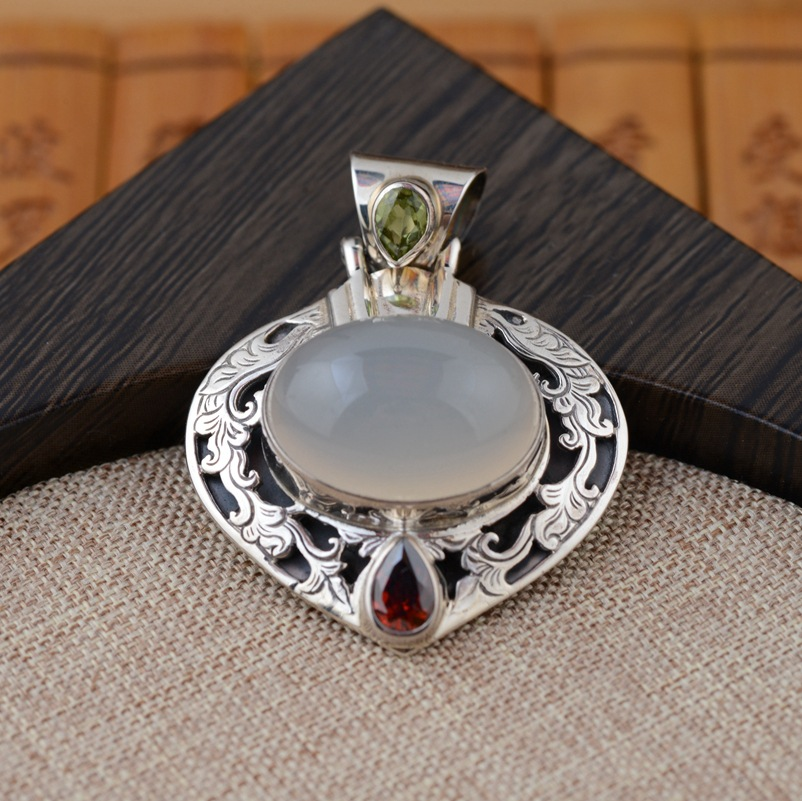 Jin Lu Wang Zhubao chalcedony Pendant Silver Wholesale S925 Sterling Silver Marcasite antique style explosion models детектор проводки ada wall scanner 50