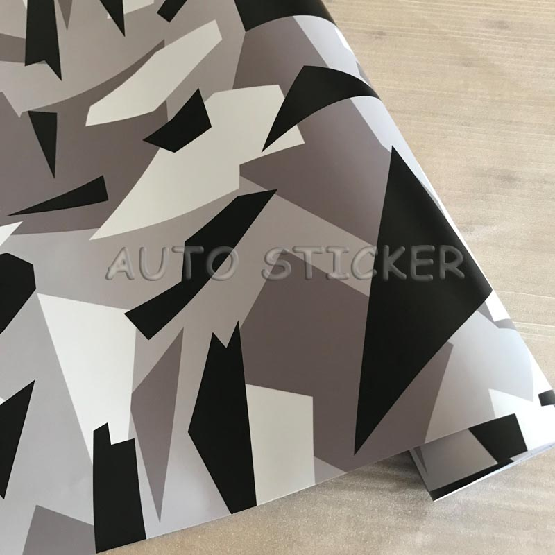 1.52m Width Black White Gray Shatter Shape Camo Vinyl Foil Camouflage Car Wrap Car Vinyl Sticker Sheet Decals With Bubble Free Without Return