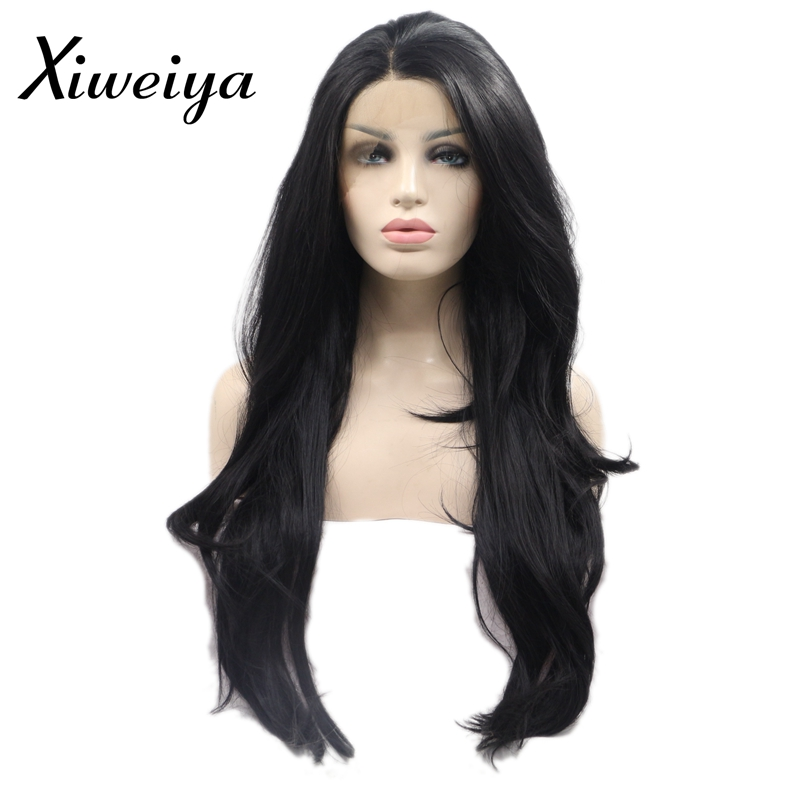 XiweiyaHeat resistant synthetic lace front wig long wavy black wig for women side part glueless everyday wig synthetic black wig ...