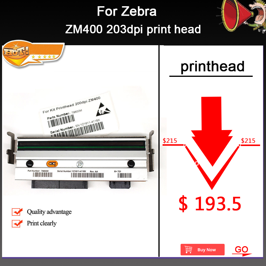 New Compatible ZM400 Thermal Print head For Zebra ZM400 203dpi Barcode Printer AA Quality