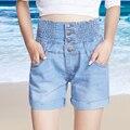 Plus size fina cintura elástica roll-up hem cintura alta shorts jeans femininos shorts soltos