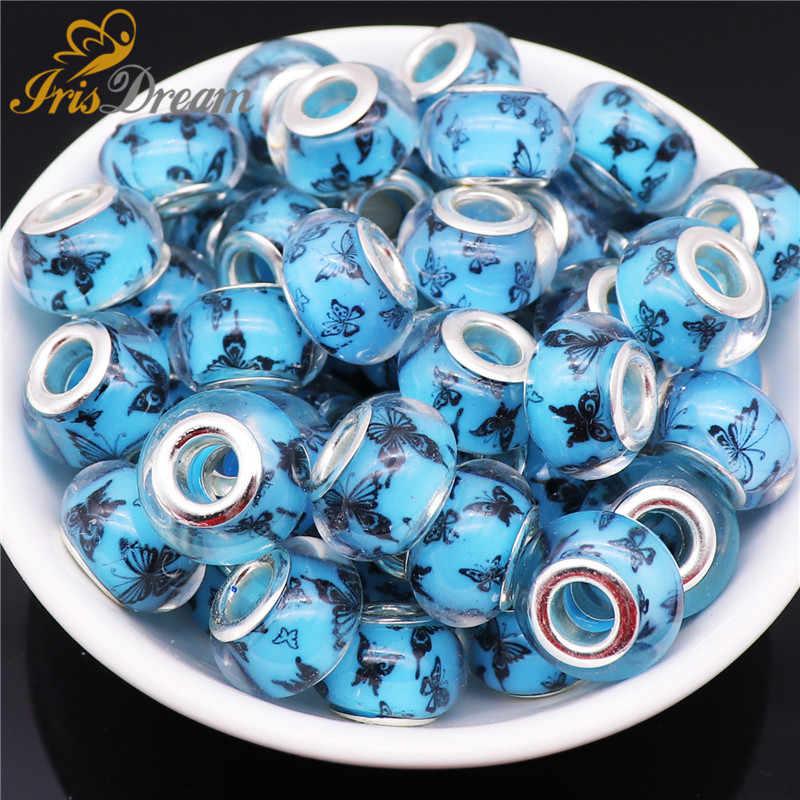 10 piezas de plata Color mariposa Rondelle Murano dijes gran agujero europeo cuentas fit Pandora pulsera Collar para fabricación de joyas