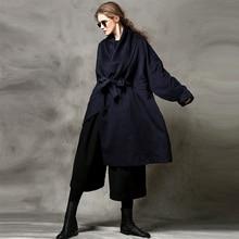 [AIGYPTOS-C] Original Design Winter Autumn Women Brief Novelty Personality Lace-Up Oversize Loose Long Woolen Coat