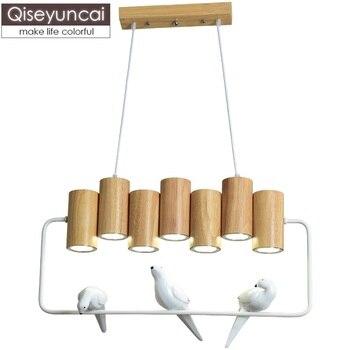 Qiseyuncai скандинавский ресторан из цельного дерева люстра креативная длинная голова птица бар деревянная атмосфера освещение для гостиной