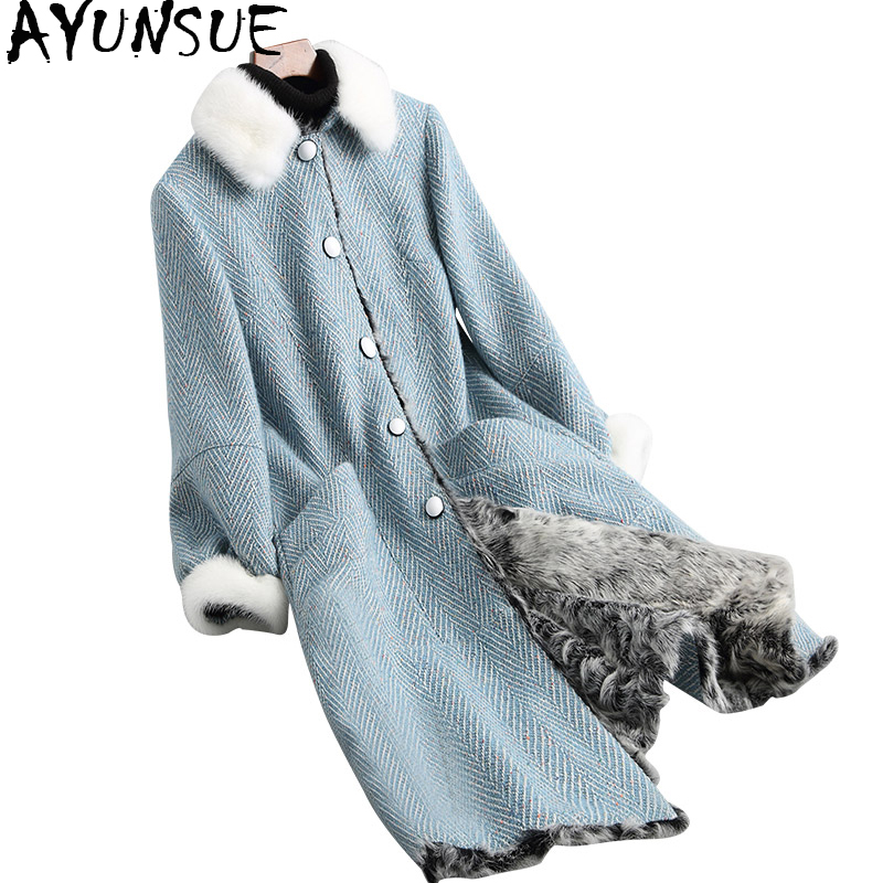 D'hiver Bleu Luxe De Tweed Col Doublure Longue Vison 2018 D'agneau Manteaux Femelle Femmes Réel Wyq1750 Ayunsue Fourrure Laine Naturel Manteau C7dHp5pnq