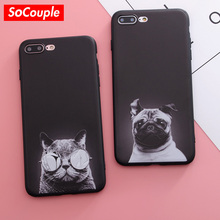 SoCouple Cool Cartoon Animal Case For iphone 7 Case Black Cat Dog Pattern Silicone Phone Cases For iphone 6 6S Plus 8 8plus