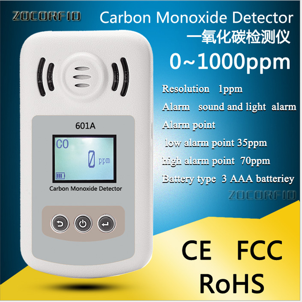 Handheld Carbon Monoxide Meter High Precision CO Gas Analyzer Tester Monitor Detector LCD Display Sound + Light Alarm 0-1000ppm