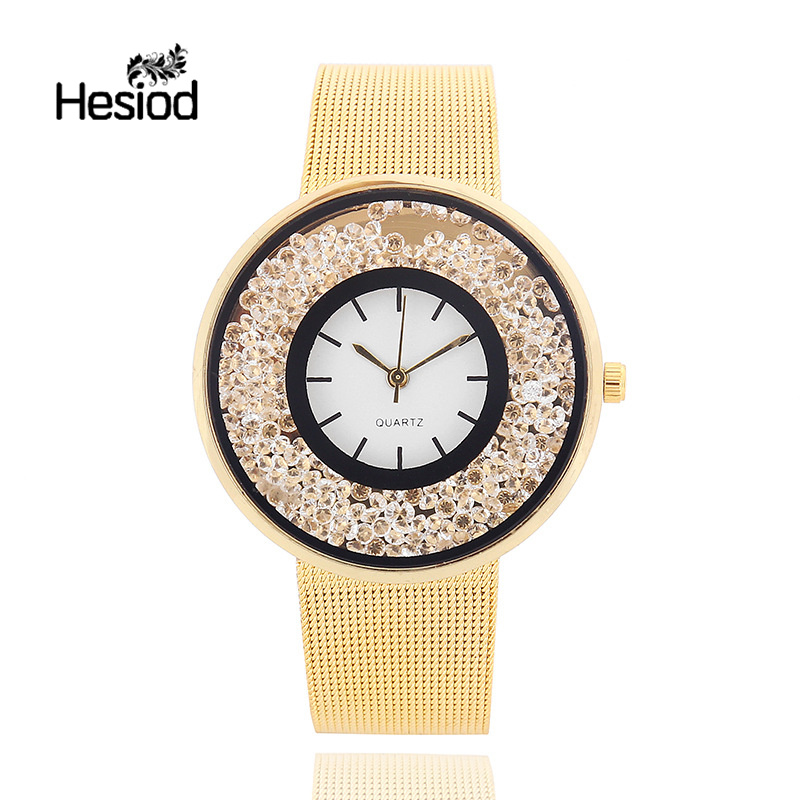 Hesiod Silver Gold Color Metal Mesh Stainless Steel Watch Crystal Wristwatch For Women 2017 Hot Watches Full Crystal Dial Luxury