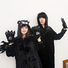 ACTIONCLUB Hot Anime Pijama Halloween Costumes Black Bear Pajamas Kigurumi for Adults Couple Hooded Onesie Sleepwear Jumpsuit