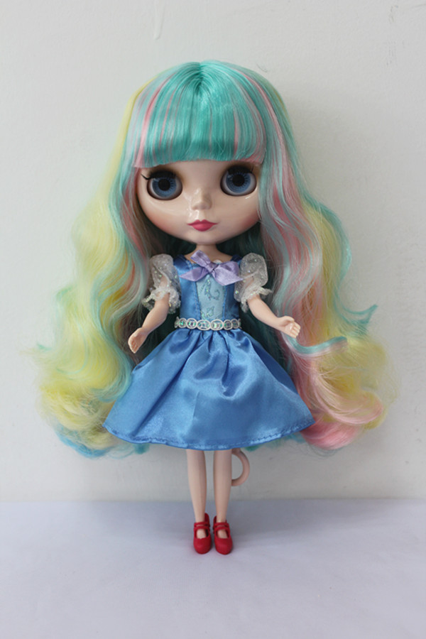 Free Shipping big discount RBL-164DIY Nude Blyth doll birthday gift for girl 4colour big eyes dolls with beautiful Hair cute toy купить