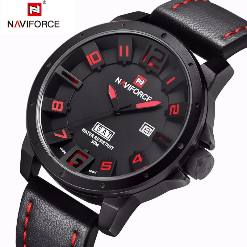 Luxury Brand NAVIFORCE Men Watch Quartz Date Military Sports Watches Men's Clock Casual Leather Wrist Watch relogio masculino weide new men quartz casual watch army military sports watch waterproof back light men watches alarm clock multiple time zone