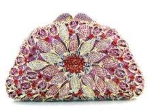 Rose Abendtasche Frauen Luxus Kristall Geldbörse Großhandel Abend-handtasche Partei Stadtstreicherin Kette Handtasche Kristall S08221
