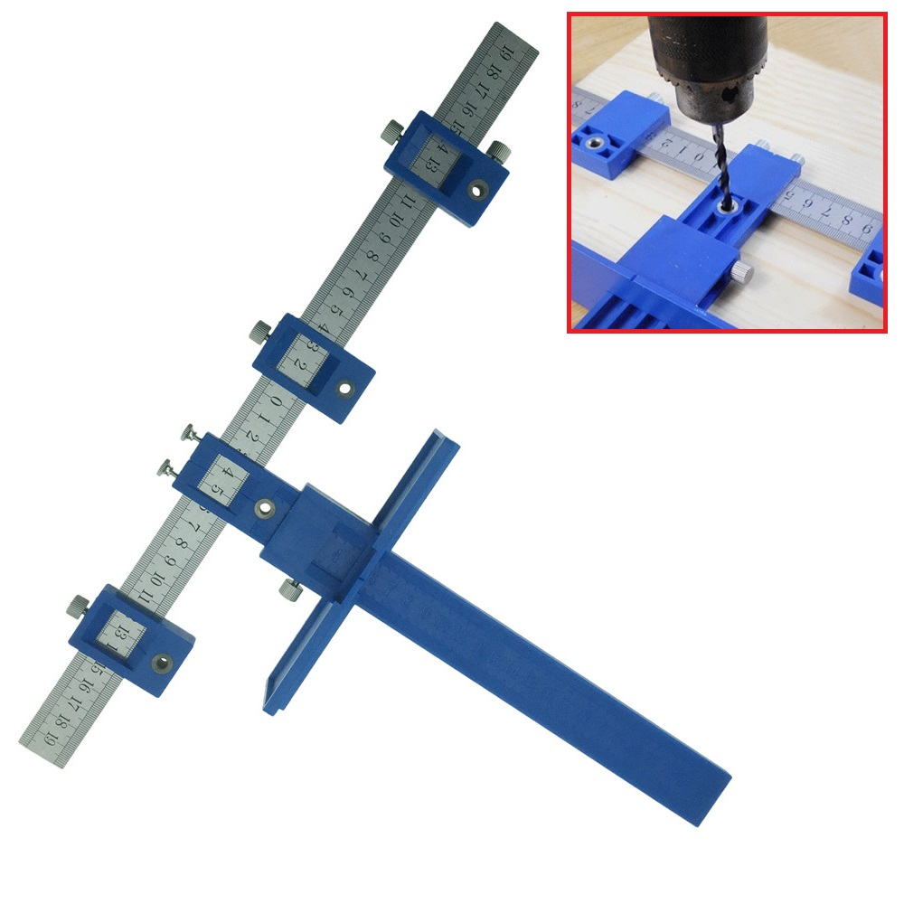 ALLSOME Drill Guide Sleeve Cabinet Hardware Jig Drawer Pull Jig Wood Drilling Dowelling Hole Saw Master