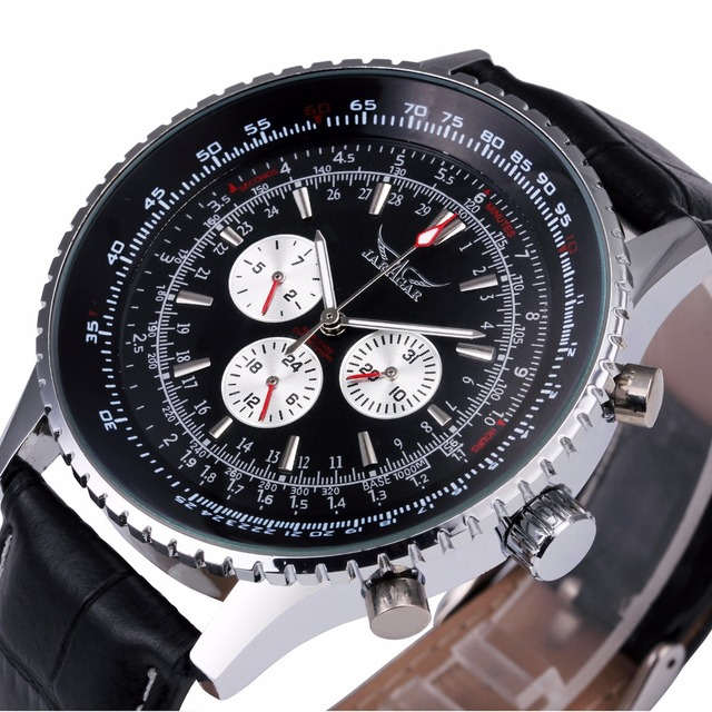 WINNER Men Casual Automatic Mechanical Wrist Watch Leather Strap Multifunction Tachometer Round Dial
