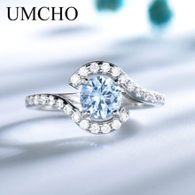 UMCHO Real 925 Sterling Silver Rings For Women Classic Round Created Sky Blue Topaz Gemstone Wedding Valentines Gift jewelry