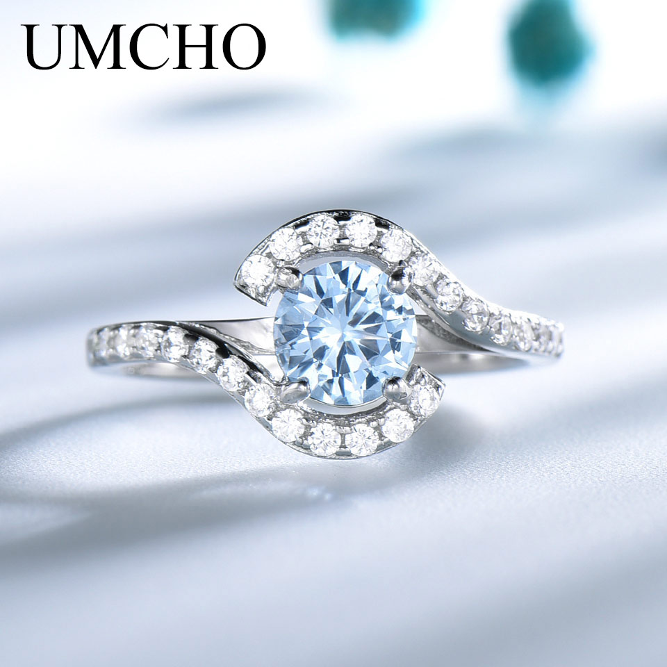 UMCHO Real 925 Sterling Silver Rings For Women Classic Round Created Sky Blue Topaz Gemstone Wedding Valentine's Gift jewelry