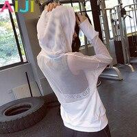Fitness Sportbekleidung Frauen Sport Yoga Top Quick-Dry Lauf Langarm-shirt Weibliche T-shirt Workout Gym Mit Kapuze Mesh Jacken